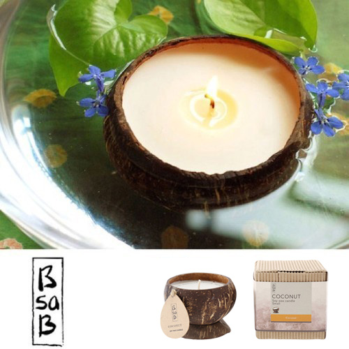 B sa B ビーサビー ココナッツシェル入り ソイキャンドル ◆Soy candle/coconut Shell