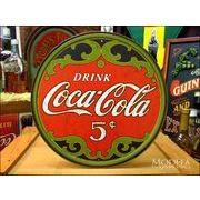 アメリカンブリキ看板 コカ・コーラ 5セント 円型