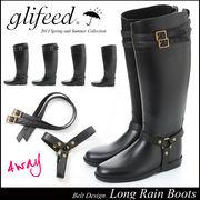 【黒S即納】glifeed2連ベルト付き♪雨や雪の日に★[4WAY]ベルテッドレインブーツ414351