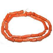 珊瑚(染色) 橙色 円柱 約30-12mm 約90cm 連販売 約粒26個