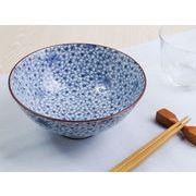 【内側&外側にも藍染デザイン】 細やか桜もみじ 特盛モリモリお茶碗