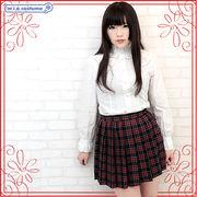 1230D■MB■送料無料■ チェック柄プリーツスカート単品 色:紺×赤 サイズ:M/BIG