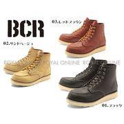 S) 【BCR】 BC-283 リアルレザー モックトゥ ワークブーツ 全3色 メンズ