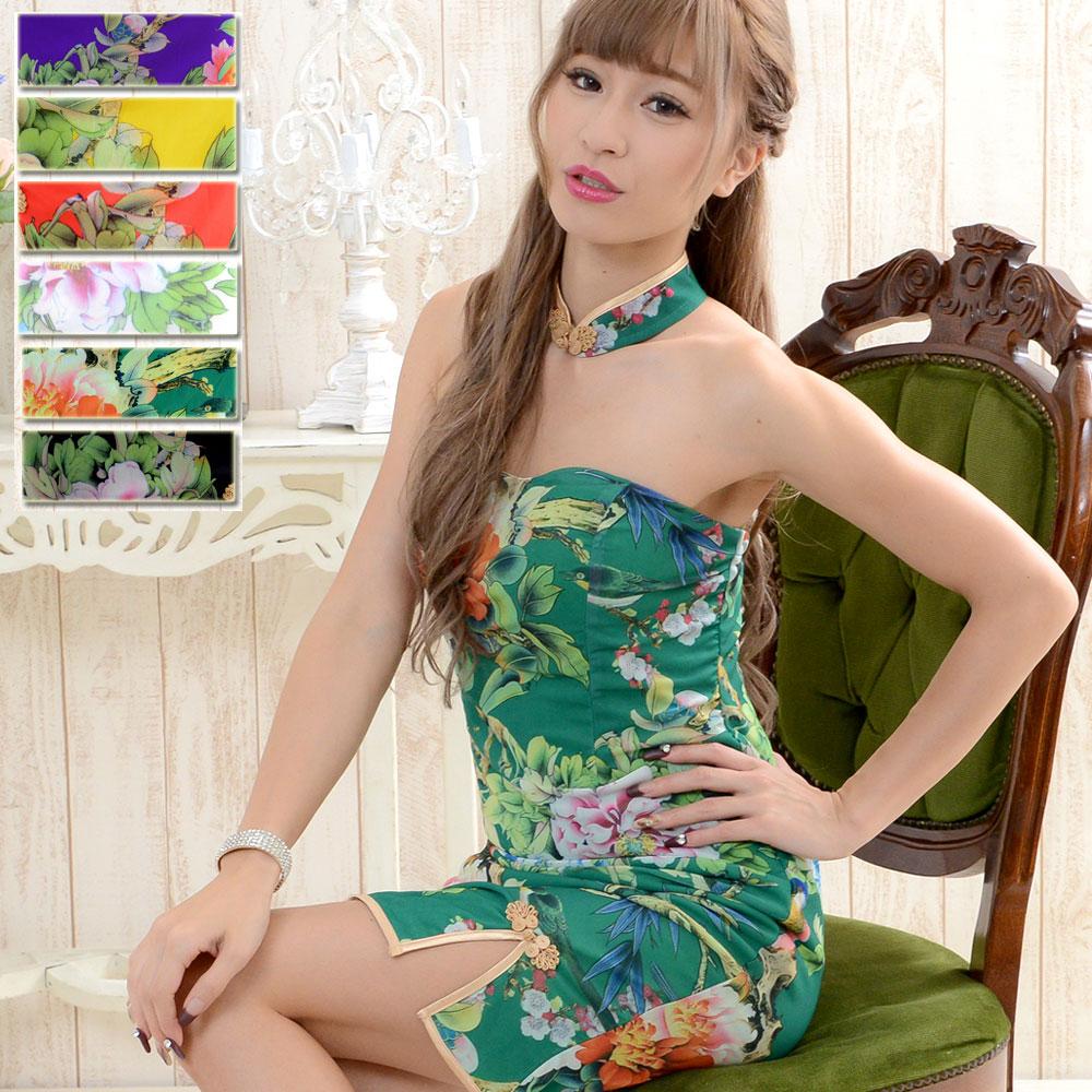1009フラワーパワーネットミニチャイナドレス 衣装 コスプレ キャバドレス ハロウィン