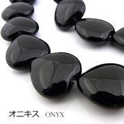 オニキス【ハート】16mm(厚み7mm)【天然石ビーズ・パワーストーン・1連販売・ネコポス配送可】