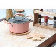 【直送可】【送料無料】【キッチン】木製カップルトリベットクローバー(鍋敷き) ボヌール