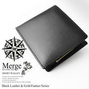 【Merge】マージ馬革×牛革2つ折り財布MG-1713 ブラック