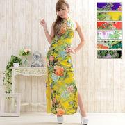 1006フラワーパワーネットロングチャイナドレス 衣装 コスプレ キャバドレス ハロウィン