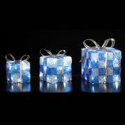 クリスマスイルミネーション LEDクリスタルプレゼントボックス(ブルー)