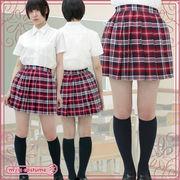 1225A■MB■送料無料■ チェック柄プリーツスカート単品 色:赤×白 サイズ:M/BIG