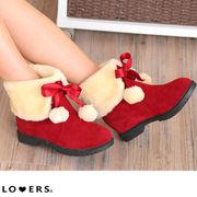 冬新作 ぽんぽん付ムートンブーツ【即納】コスプレ サンタ クリスマス 靴 シューズ