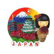 お土産JAPANマグネット 丸型こけし&富士 《外国人観光客向け日本土産》