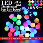 LEDイルミネーション カラーボール 5m 50球 RGB ボール型