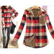 裏ボアチェックシャツ   ネルシャツアウター    カーディガン  フランネルシャツ  厚生地防寒ジャケット