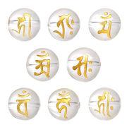 ▼MAGGIO▼【ボンジ干支】金塗り手彫り梵字(ボンジ)クォーツ(水晶)丸玉(12mm、14mm)