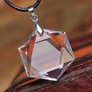 天然石 透明天然水晶六芒星(ダビデの星)ペンダントトップ【FOREST 天然石 パワーストーン】