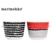 Y) 【マリメッコ】 小鉢 ラシィマット エッグカップ ホワイト/ブラック/レッド 2個セット
