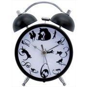大西賢製販 猫グッズ の目覚まし時計 ネコ ブラック