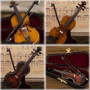 リアルなデザインでインテリアにオススメ♪ミニチュアバンド バイオリン♪