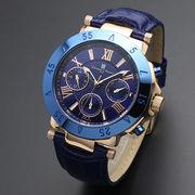 正規品Salvatore Marra腕時計サルバトーレマーラ SM14118S-PGBL 10気圧多軸クォーツ 革ベルト メンズ腕時計