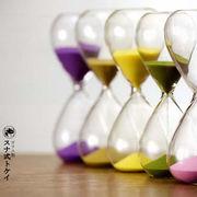 ガラス製 砂式トケイ ふじ/黄色/もも/抹茶/金 砂時計