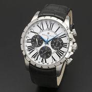 正規品Salvatore Marra腕時計サルバトーレマーラ SM15103-SSWH 多軸 丸型 革ベルト メンズ腕時計