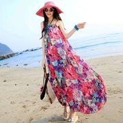 ビ-チワンピース ワンピース リゾート花柄 体型カバー ボヘミアン 美体型 可愛いワンピース 海