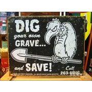アメリカンブリキ看板 torque brothers 墓穴を掘る