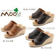 S) 【Mooi! Feminine】 MF338 本革 ジュート ウェッジサンダル 全3色 レディース