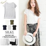 【春夏SALE】ポケット付きTシャツ/トップス/シンプル/ベーシック 即納