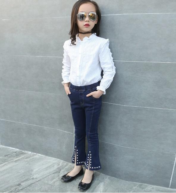 e98df09a35c76 デニムジーンズ 韓国子供服 女の子 デニムパンツ ロングパンツ ベルボトム シンプル