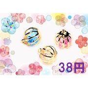 【夏アクセサリー】高品質A級ガラスストーン入り 球体チャーム型パーツ 38円