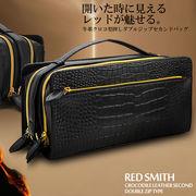【RED SMITH】高級牛革クロコダイル型押しBOXセカンドバック RSX-03