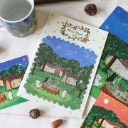 中綴じノート ねこ「森のお茶会」