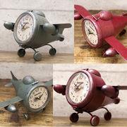 【Retro days Clock】シャビーな加工★レトロデイズクロック Airplane エアープレーン【置時計】