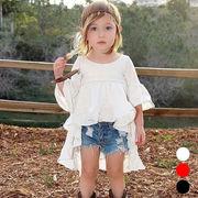 女の子 可愛い 不規則ワンピース フリル裾 フリル袖  ラウンドネック ドレス キッズ 子供服 全3色