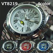 VITAROSOメンズ腕時計 メタルウォッチ 日本製ムーブメント クロノ、ムーンフェイスデザイン