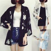 刺繍花柄カーディガン レースボタニカル柄 シフォンガウン露出 シースルー半袖サマー 韓国ファッション