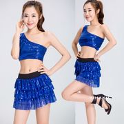 【即日出荷】ブルー きらきら  チアガール レースクイーン コスプレ衣装【7701】