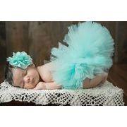 ベビー着ぐるみ お花髪飾り スカートセット レース ヘアバンド 写真撮影用 出産祝い 新生児 記念撮影