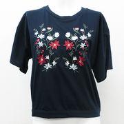 20/-天竺 後ろ開きTシャツ(刺繍)
