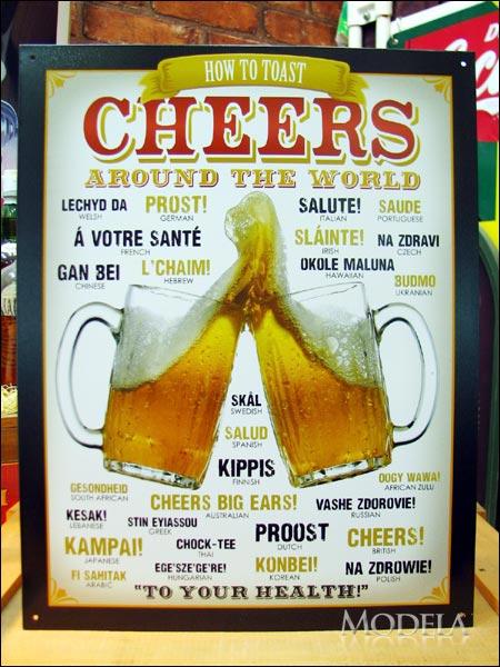 アメリカンブリキ看板 ビール 世界の乾杯