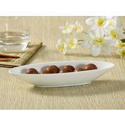 【強化】 細長い楕円小皿    おうちカフェ/カレー皿/パスタ皿//白食器