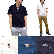 【2017春夏】カノコ イルカペンギンクジラ ワッペン&プリント フェイク スキッパー ポロシャツ