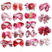 【送料無料】トリミングサロン用ペットチョーカー蝶ネクタイ ピンクと赤のリボン100個 海外直送