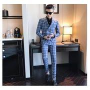 人気 ビジネススーツ チェック柄 メンズスーツ セットアップ ジャケット+パンツ2点セット 抜群