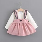 子供服 キッズファッション 秋服 韓国風 女児 児童 ワンピース ウサギ 偽2点セット