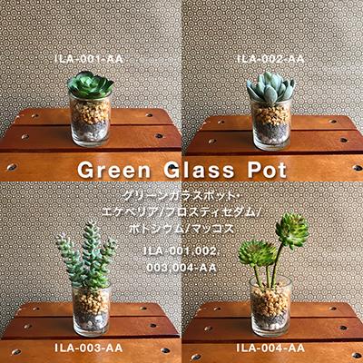 枯れない植物で作る手軽な癒し空間【グリーンガラスポット】4種展開