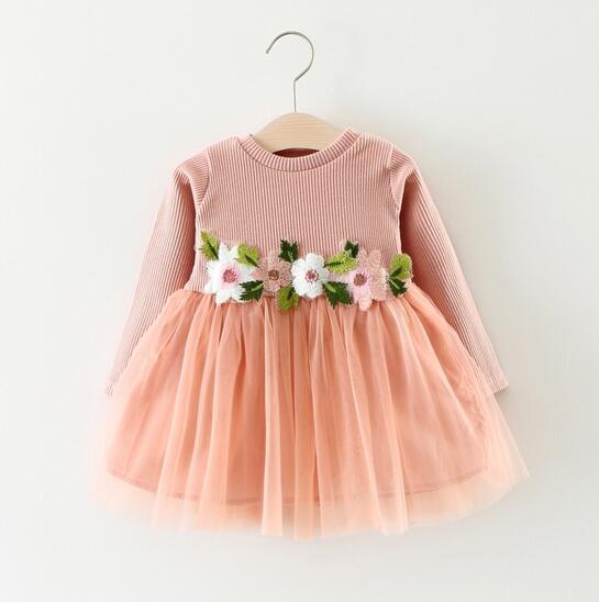 ワンピース 子供服 長袖 キッズ ジュニア 女の子 フリル 春服 上着 春秋 ドレス 70-100 3色