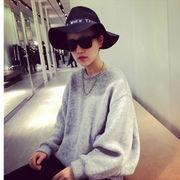 秋 新しいデザイン ルース 着やせ 丸襟 ヘッジ 長袖 セーター 韓国風 シンプル トッ